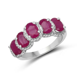 Malaika 3.20 Carat Genuine Ruby .925 Sterling Silver Ring