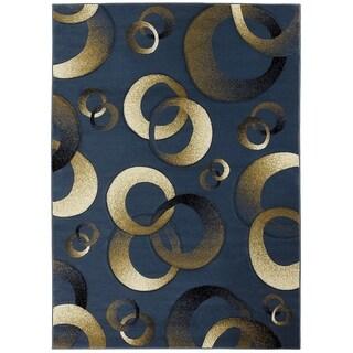 LYKE Home Hand-carved Blue Geometric Area Rug (5'3 x 7'2)
