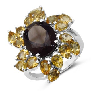 Malaika 5.87 Carat Genuine Smoky Quartz and Citrine .925 Sterling Silver Ring