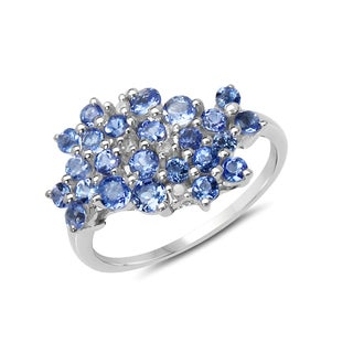 Malaika 1.08 Carat Genuine Tanzanite and White Diamond .925 Sterling Silver Ring