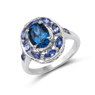 Malaika 2.23 Carat Genuine London Blue Topaz & Tanzanite .925 Sterling Silver Ring