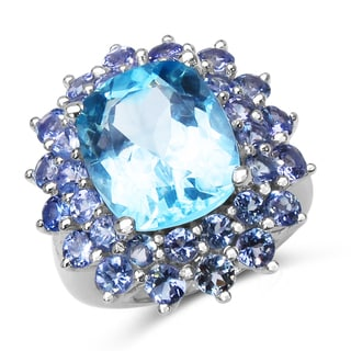 Olivia Leone 12.20 Carat Blue Topaz and Tanzanite .925 Sterling Silver Ring