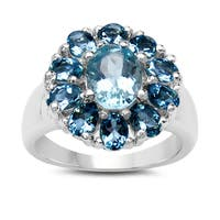 Malaika 3.60 Carat Genuine Blue Topaz and London Blue Topaz .925 Sterling Silver Ring