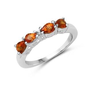 Malaika 0.81 Carat Genuine Orange Sapphire and White Diamond .925 Sterling Silver Ring