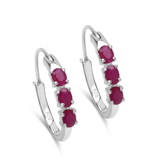 Malaika 1.50 Carat Genuine Ruby .925 Sterling Silver Earrings