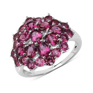 Olivia Leone 3.30 Carat Rhodolite and White Topaz .925 Sterling Silver Ring