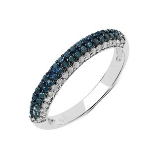 Olivia Leone Sterling Silver 2/5ct TDW Blue Diamond Ring