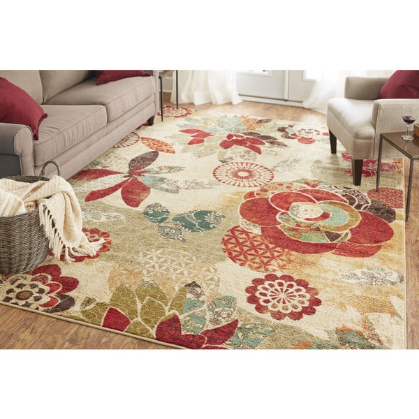 Shop Mohawk Home Strata Geo Floral Pattern Area Rug 7 6
