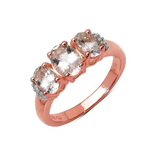 Olivia Leone 14K Rose Gold Plated 1.61 Carat Genuine Morganite and White Diamond .925 Sterling Silver Ring