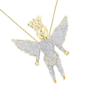 Luxurman 10k Yellow Gold 1 5/8ct TDW Diamonds Iced Out Crowned Angel Pendant (H-I, SI1-SI2)