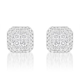Luxurman 14k White Gold 1 1/5ct TDW Designer Diamond Stud Earrings