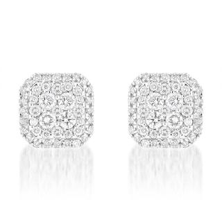 Luxurman 14k White Gold 1 1/5ct TDW Designer Diamond Stud Earrings (G-H, SI1-SI2)