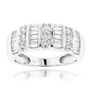 Luxurman 14k White Gold 1 3/5ct TDW Diamond Ring