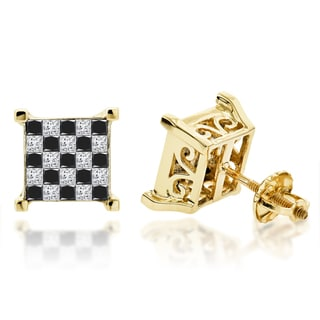 Luxurman 14k White Gold 1 1/3ct TDW Princess-cut Black Diamond Earrings