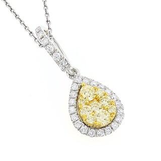 Luxurman 14k White Gold 7/8ct Yellow Diamond Drop Pendant (G-H, SI1-SI2)
