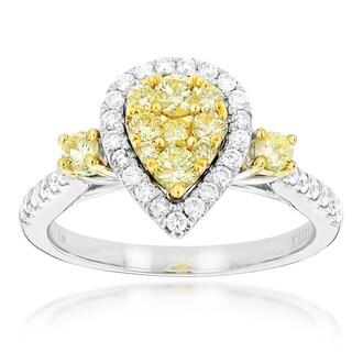 Luxurman 14k White Gold 1 1/10ct TDW Yellow Diamond Ring (G-H, SI1-SI2)