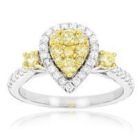 Luxurman 14k White Gold 1 1/10ct TDW Yellow Diamond Ring