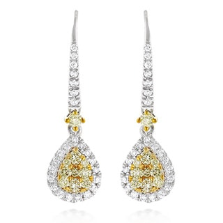 Luxurman 14k White Gold 1ct TDW White and Yellow Diamond Drop Earrings