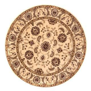Brillante Cream Traditional Oriental Round Rug (5'7 x 5'7)