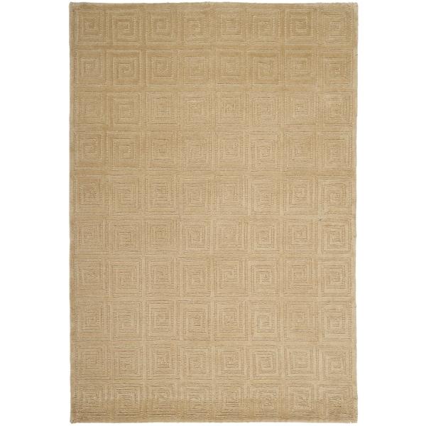 Safavieh Hand-knotted Tibetan Greek Key Cream Wool Rug - 5' x 7'6