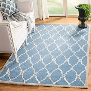 Safavieh Handmade Cambridge Navy/ Ivory Wool Rug (9' x 12')