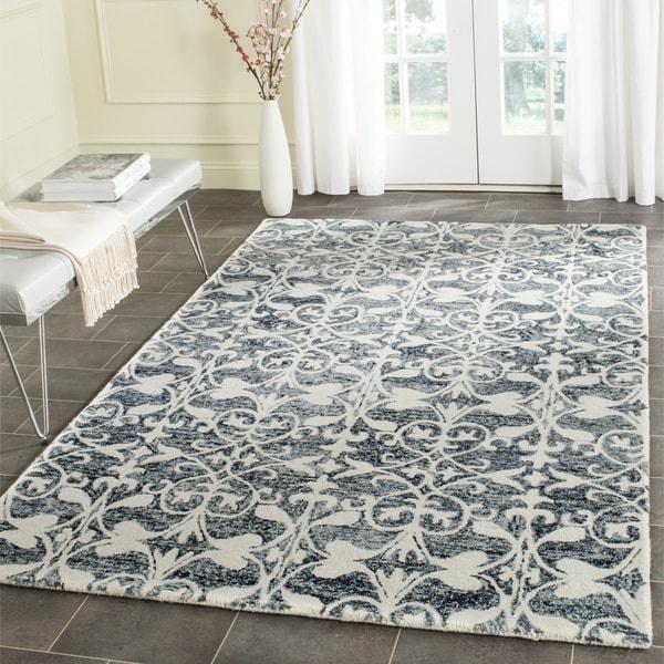 Safavieh Handmade Chatham Charcoal/ Ivory Wool Rug (8' x 10')