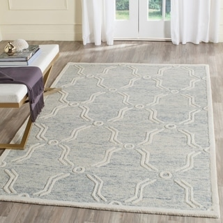 Safavieh Handmade Cambridge Light Blue/ Ivory Wool Rug (8' x 10')
