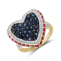 Malaika 2.18 Carat Genuine Ruby And Blue Sapphire .925 Sterling Silver Ring