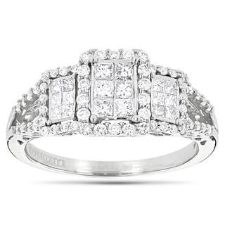 Luxurman 14k White Gold 1ct TDW Round and Princess Diamond Engagement Ring