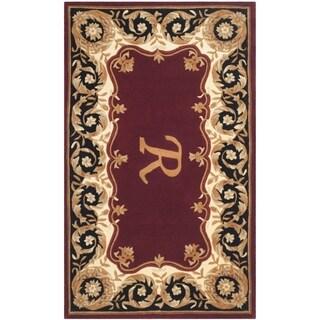 Safavieh Handmade Naples Maroon/ Beige Wool Rug (5' x 8')