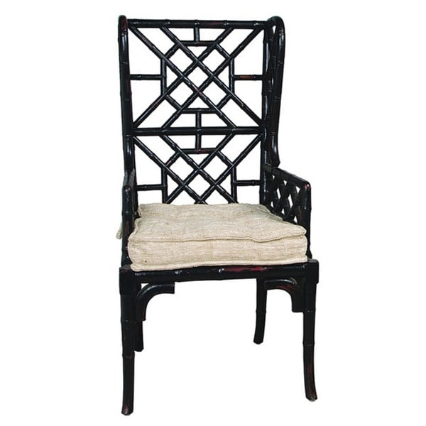 Shop Black Bamboo Wing Back Chairs Set Of 2 Free