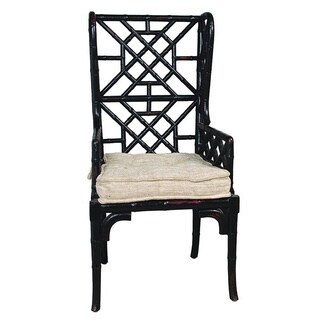 Black Bamboo Wing Back Chairs (Set of 2)
