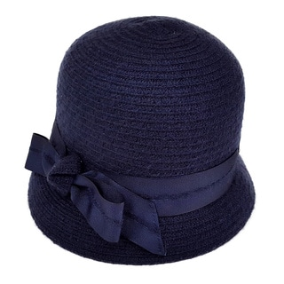 Swan Women's Ribbon Bow Chenille Ribbon Casual Cloche Hat