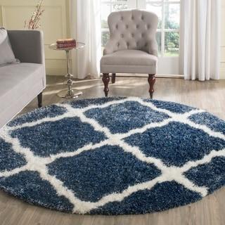 Safavieh Montreal Shag Blue/ Ivory Polyester Rug (6'7 Round)