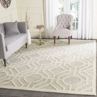 Safavieh Handmade Cambridge Light Grey/ Ivory Wool Rug (6' Square)