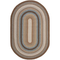 Safavieh Hand-woven Braided Brown/ Multi Rug (10' x 14' Oval) - 10' x 14'