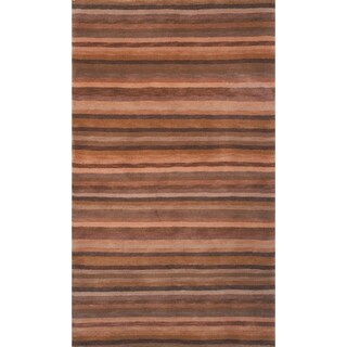 Safavieh Hand-knotted Tibetan Striped Coffee/ Olive Wool Rug (2' x 3')