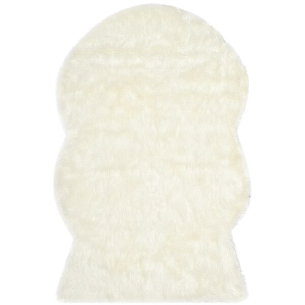 Safavieh Handmade Faux Sheepskin Ivory Japanese Acrylic Rug - 2' X 3'