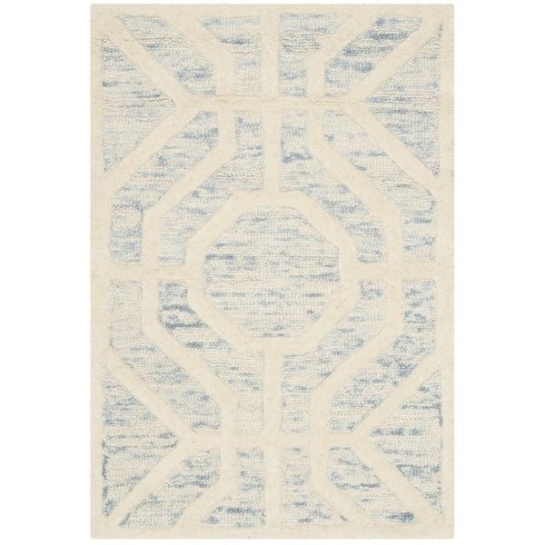Safavieh Handmade Cambridge Light Blue/ Ivory Wool Rug (2' x 3')