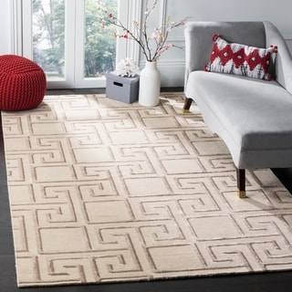 Safavieh Hand-knotted Tibetan Modern Greek Key Silver Wool Rug (9' x 12')