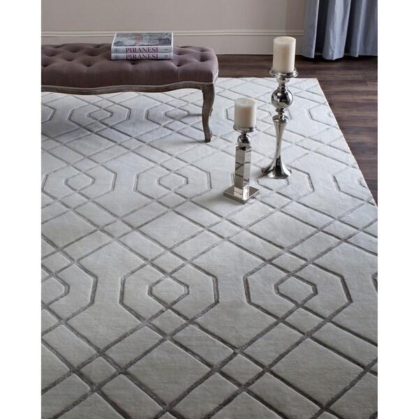 Safavieh Hand-knotted Tibetan Modern Geometric White Wool Rug - 8' x 10'