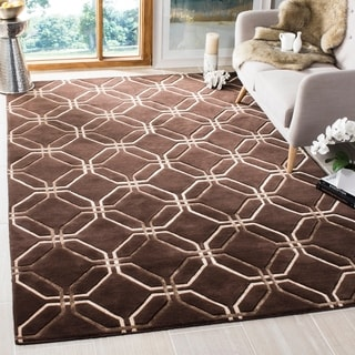 Safavieh Hand-knotted Tibetan Modern Geometric Brown Wool Rug (9' x 12')
