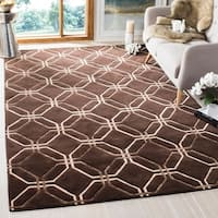 Safavieh Hand-knotted Tibetan Modern Geometric Brown Wool Rug - 9' x 12'