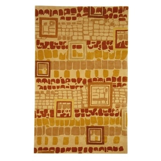 Safavieh Handmade Rodeo Drive Modern Abstract Beige/ Rust Wool Rug (9'6 x 13'6)