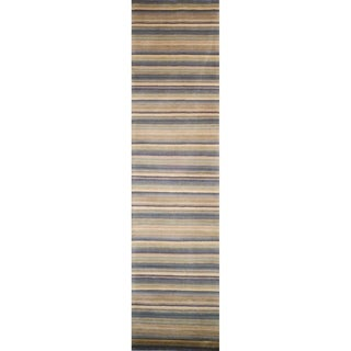 Safavieh Hand-knotted Tibetan Striped Blue/ Grey Wool Rug (2'6 x 10')