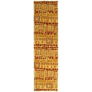 Safavieh Handmade Rodeo Drive Modern Abstract Beige/ Rust Wool Rug (2'6 x 14')
