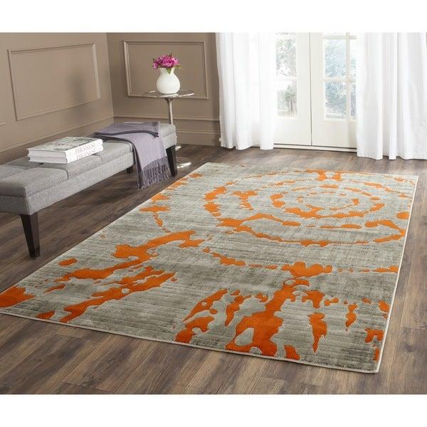 Safavieh Porcello Abstract Contemporary Light Grey/ Orange Rug - 9' x 12'