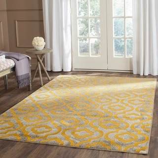 Safavieh Porcello Contemporary Geometric Light Grey/ Yellow Rug (9' x 12')