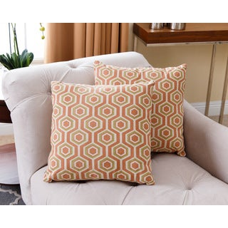 ABBYSON LIVING Dylan Orange 18-inch Throw Pillows (Set of 2)