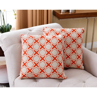 ABBYSON LIVING Monty Orange 18-inch Throw Pillows (Set of 2)